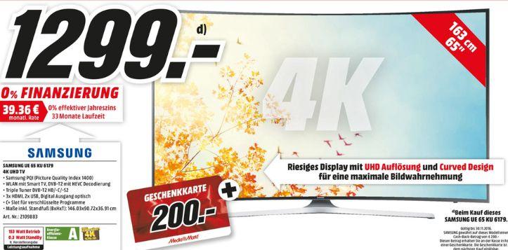 [Lokal Mediamarkt Hannover-Wülfel] Samsung UE65KU6179 Fernseher 163 cm (65 Zoll) Curved 4K Ultra HD LED-TV, HDR Premium, Smart TV, WLAN + 200,-€ Geschenkkarte für 1299,-€