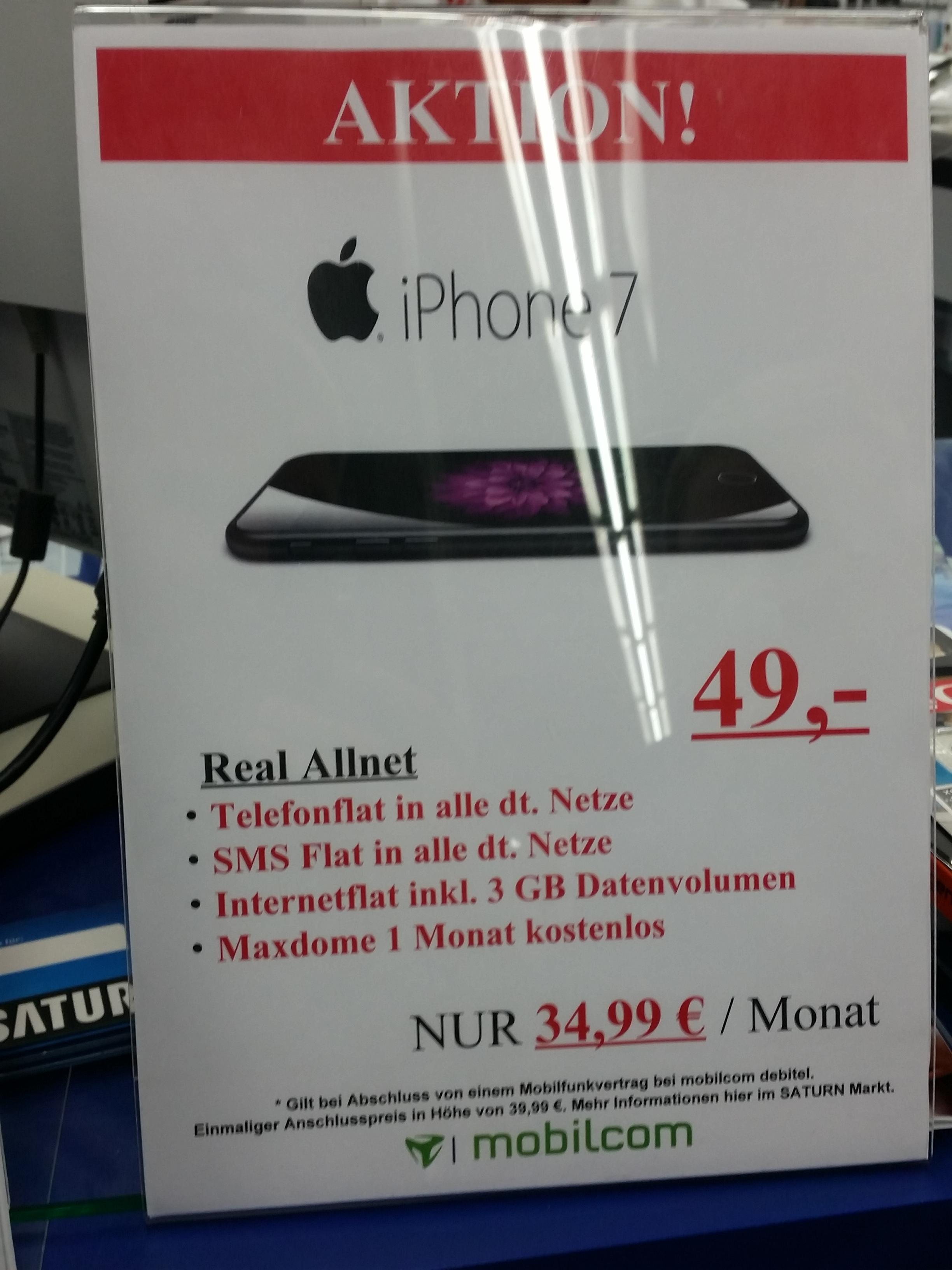 [LOKAL SATURN NEUSS] Apple iPhone 7 32 GB mit Vertrag für 34,99 monatlich