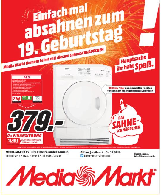 [Lokal Media Markt Hameln] AEG Wärmepumpentrockner 379€
