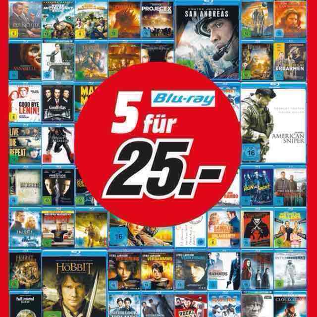 Lokal HH Mediamarkt- 5 Blu-Rays für 25 €
