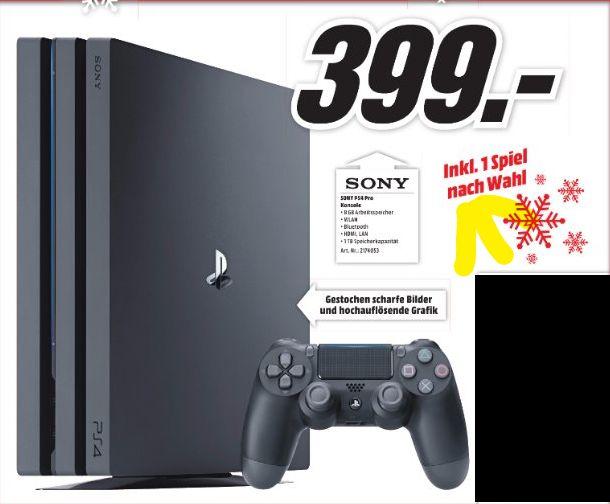 [Lokal Mediamarkt Reutlingen] Sony PlayStation 4 (PS4) Pro + 1 x-belibiges Spiel nach Wahl für 399,-€