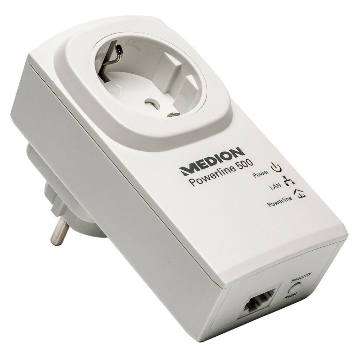 "Medion™ - 500 Mbit/s Powerline Adapter ""P85049 (MD87309)"" (integrierte Steckdose) ab €16,38 [@Medion.de]"