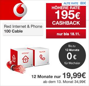 Vodafone: Internet & Phone Cable 100 mit 50€ Online-Vorteil+ FRITZ!Box 6360 + 195€ Cashback- nur 18,95€ / Monat!