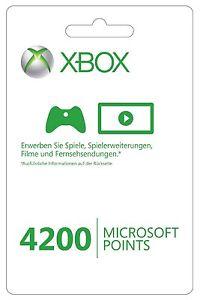 {Ebay} Microsoft Xbox Live 4200 Points Card, umgerechnet : 50,40 €, versandkostenfrei , Meistverkauftes Produkt