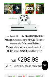 ?[Gamestop Bundesweit] Xbox One S 500GB + 1. Controller + FIFA 17 + Dishonored 2 + Fallout 4 oder Doom für 299€
