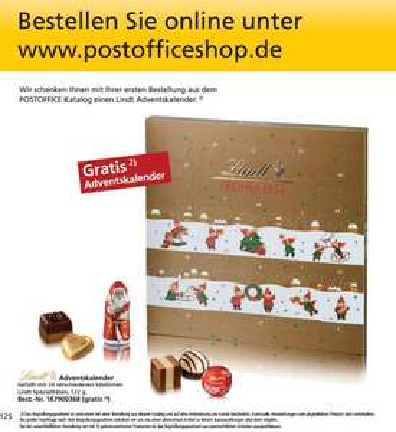 [POSTOFFICE] Lindt Adventskalender, 122 g, 24 Lindt-Köslichkeiten [eff. gratis]