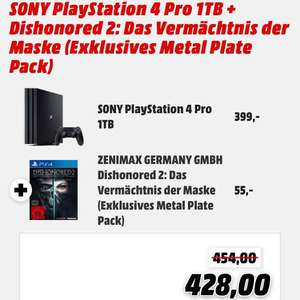MM Online PS4 Pro + Dishonored 2 Metal Plate Pack für 428€