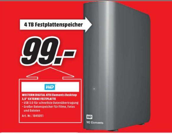 [Lokal Mediamarkt Cottbus] Western Digital Elements Desktop 4 TB schwarz externe Festplatte USB 3.0 für 99,-€