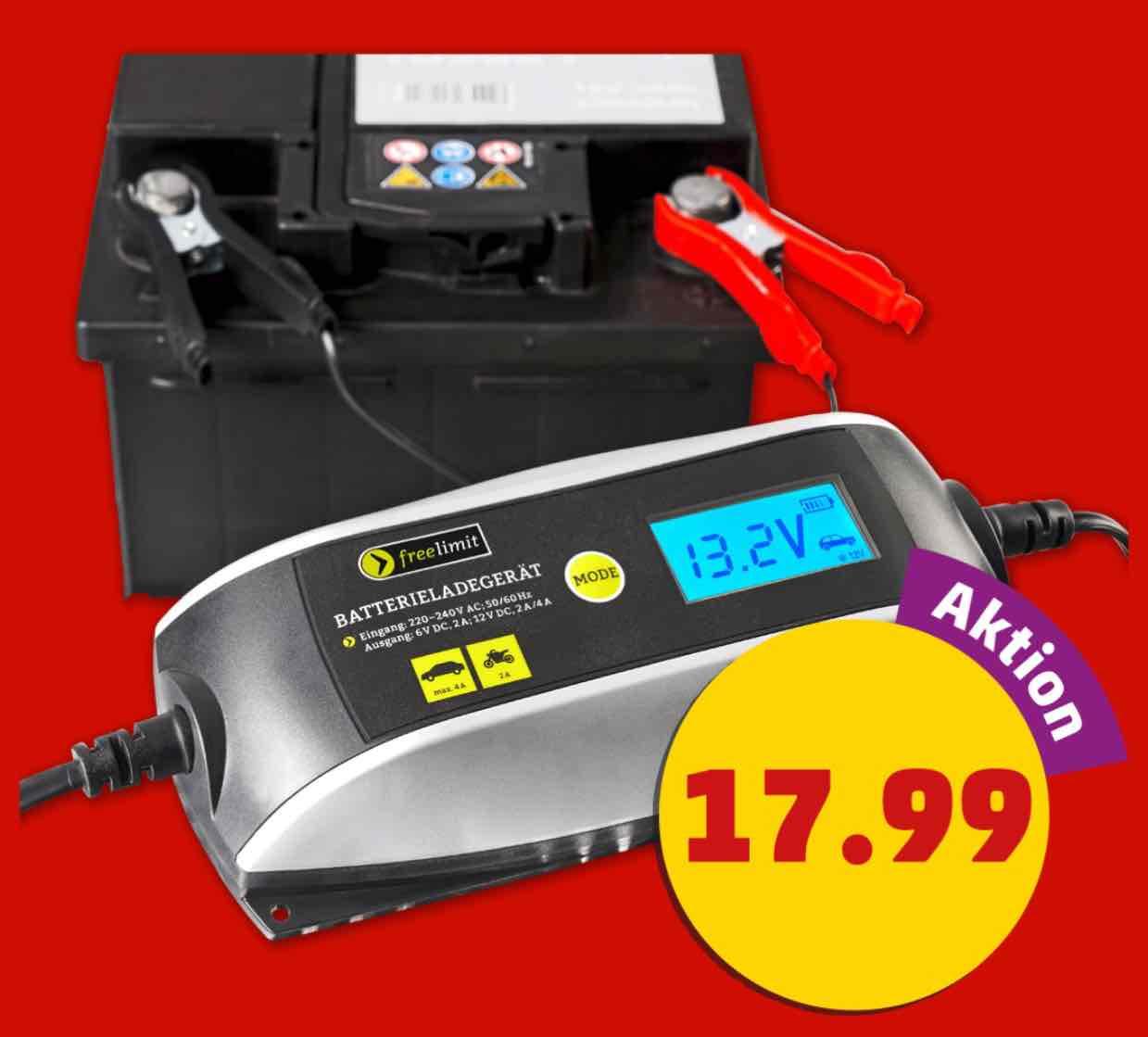 PENNY Intelligentes KFZ/Motorrad Batterieladegerät LC-Display 6V/12V bis 4A Ladestrom 17,99€