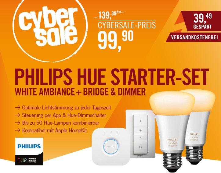 Philips Hue White Ambiance Starter Set für 99,90€ bei Cyberport (E27, 2x 9,5W, weiß, 806lm, EEK A+) inkl. Dimmschalter und? Bridge 2.0