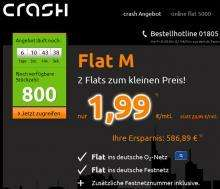 Handyvertrag: O2-Flat + Festnetzflat +Homezone  für 1,99 bei crash Tarife