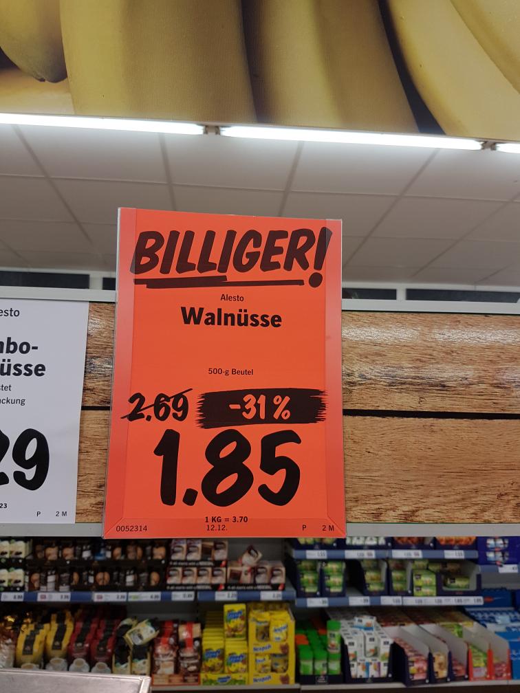 14-19.11.16 Walnüsse 500g 1.85€. Ausserdem bis morgen 10% auf Obst&Gemüse Lidl  Detmolderstr.550