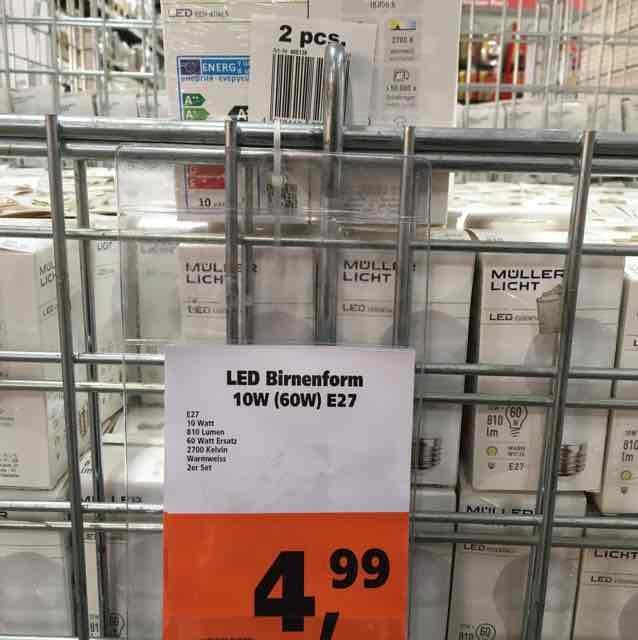 Müller Licht Led 10W Globus 2 x für 4,99 Euro 810 Lumen ca. 60 Watt Ersatz