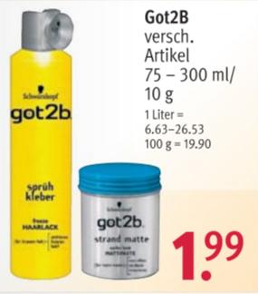 (Rossmann) got2b Produkte (Sprüh Kleber gelb, strand matte, ...) für 1,99€, mit 10% Coupon 1,79 €