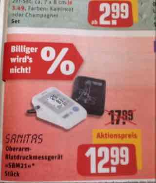 REWE Center ab 15.11.: Sanitas Oberarm-Blutdruckmessgerät SBM 21 für 12,99€ (idealo ab 33,04 €)