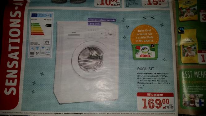 [Lokal][Abholung][Rewe-Center Heppenheim] Waschmaschine Exquisit WM6910-10