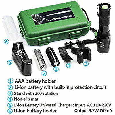 [Amazon] QCY LED Cree Taschenlampe im Transportkoffer (Akku und Ladegerät) für 11,99€