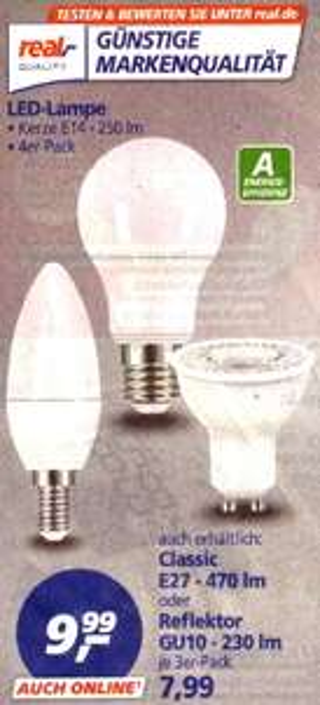 Real off- und online: LED-Lampen in Dreier- und Viererpacks für 7,99 bzw. 9,99 Euro