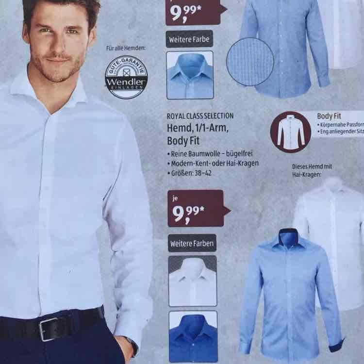 Aldi Süd Royal Class Selection Body Fit Hemden ab 24.11. (ähnlich Olymp Level 5)