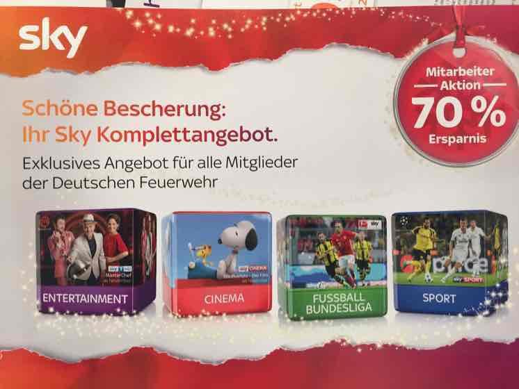 Sky Komplettabo für 19,99 Euro (für deutsche Angehörige der Feuerwehr)
