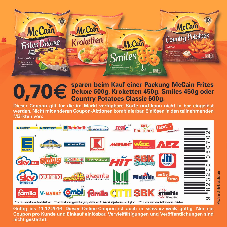 Edeka Region Minden Hannover Berlin: 600 Gramm Mc Cain Deluxe Pommes Frites für 41 Cent (Angebot plus Coupon) vom 14.11.2016 - 19.11.2016