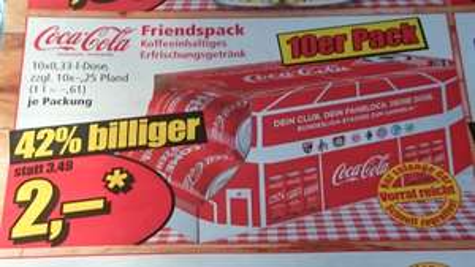 LOKAL -  Coca Cola 10 x 0,33 Liter 2€, zzgl. Pfand