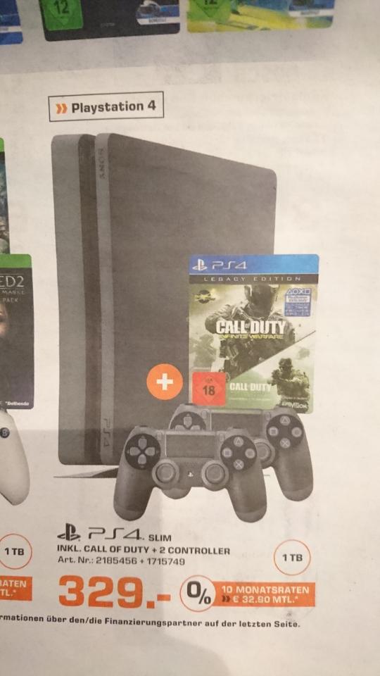 Saturn PlayStation 4 Slim 1 TB + 2 Controller + CoD Legacy Edition PS4