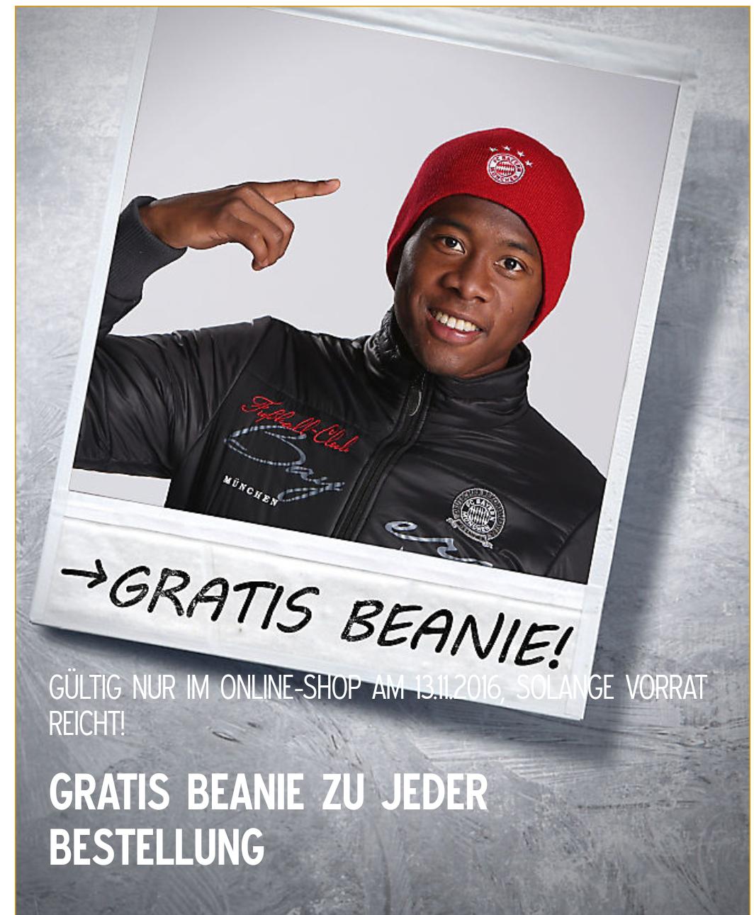 [FC Bayern München Fanshop] Gratis Mütze / Beanie zu jeder Bestellung
