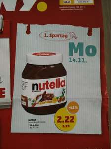 [Lokal Hamburg] Nutella 750 g. für 2.22€ bei Penny 1kg=2.96€