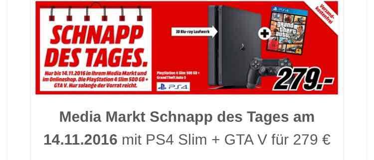 PS4 Slim 500GB + GTA V für 279€ bei Media Markt