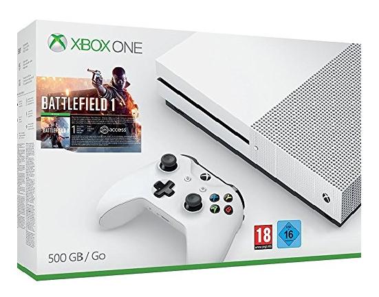 Microsoft Xbox One S 500GB + Battlefield 1 + Personalisierte Batterieklappe für 269,99€