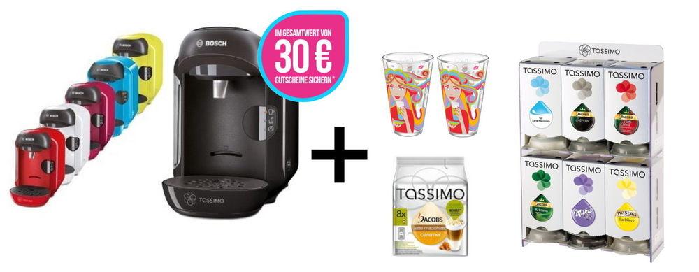 Bosch TASSIMO VIVY + 30 EUR Gutscheine* + T Discs + Ritzenhoff Gläser + Spender für 34,99€