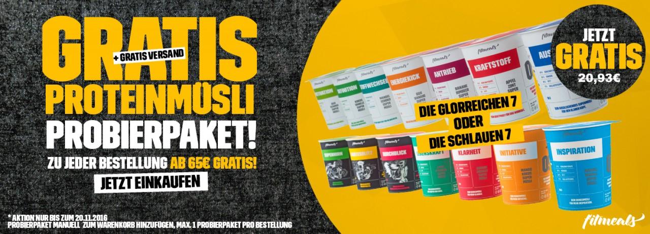 Gratis Proteinmüsli Probierpaket ab 65,- € Bestellwert