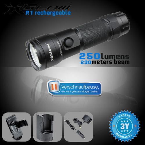 XGlow R1 wiederaufladbare Taschenlampe mit 250 Lumen! LED-Typ: Cree XP-G  Max Laufzeit: 28 Stunden      @iBood 55,90€  Idealo 129€