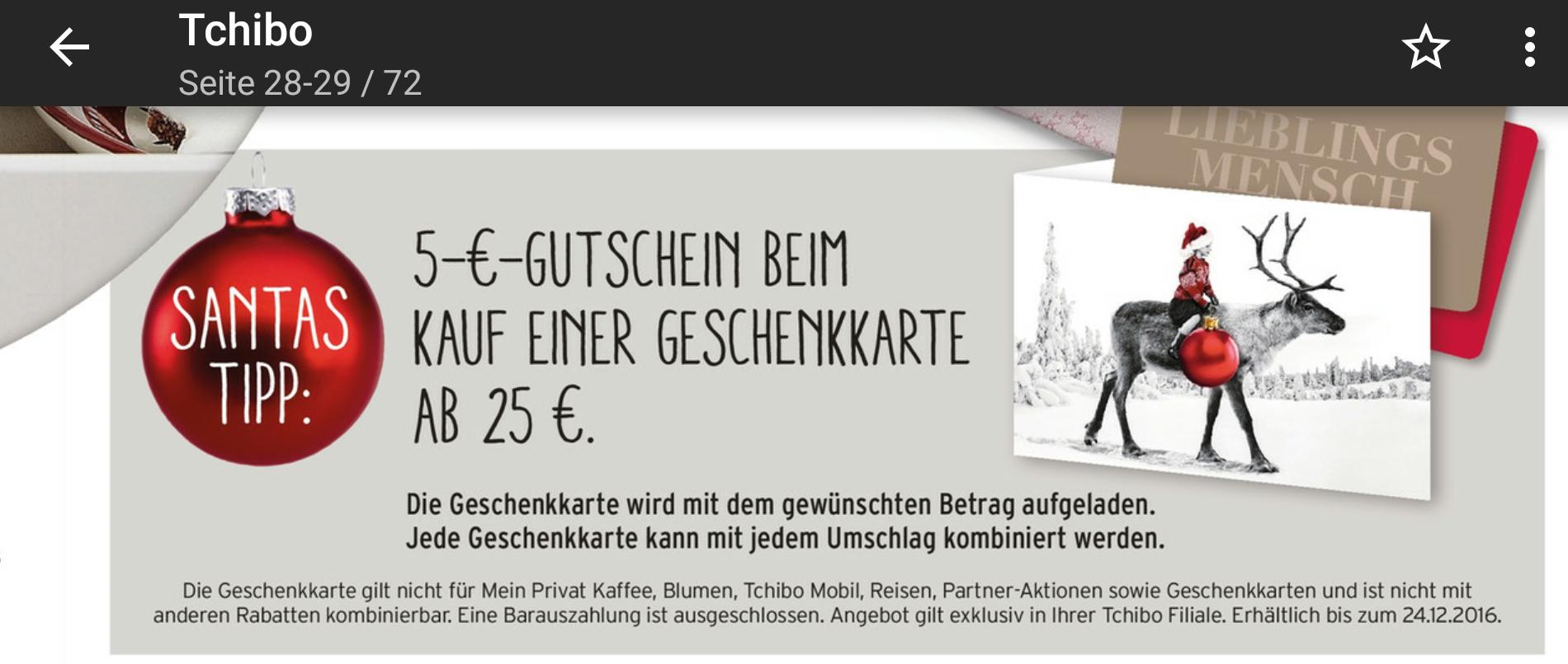Tchibo Filialen: 25 Euro Geschenkkarte kaufen und 5 Euro Gutscheinkarte obendrauf erhalten