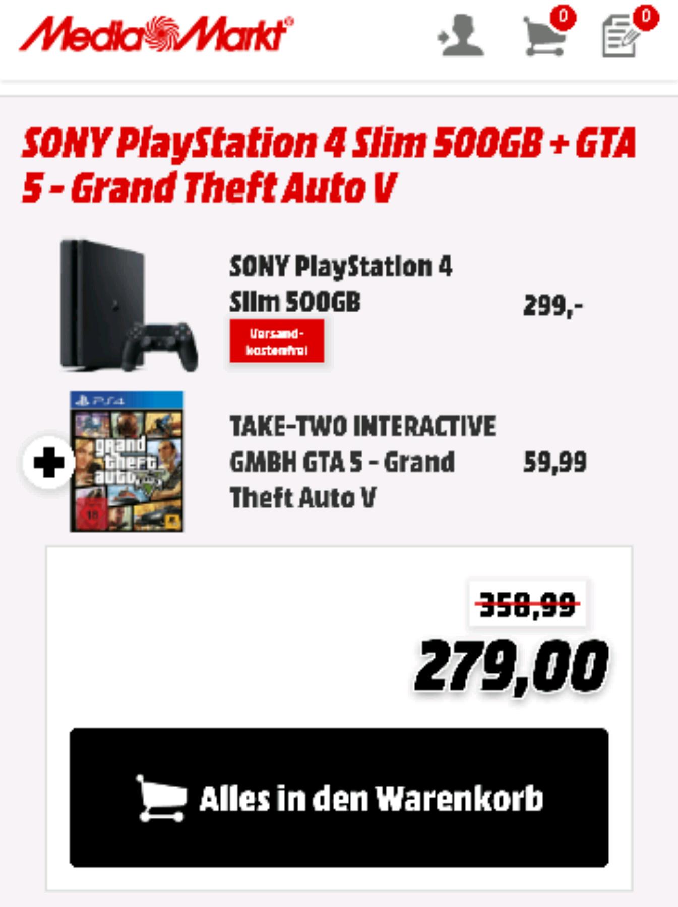 Sony PlayStation 4 Slim + GTA 5 Supergünstig