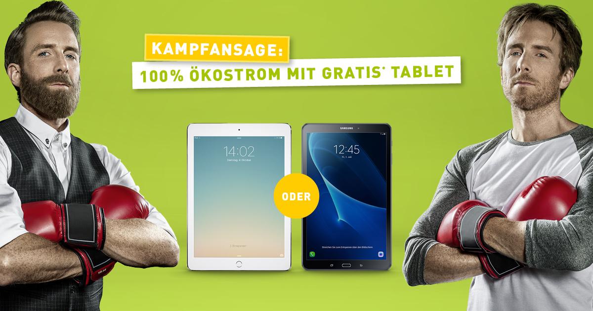 Gratis iPad Air 2 oder Galaxy Tab A10 bei günstigem Ökostromvertrag