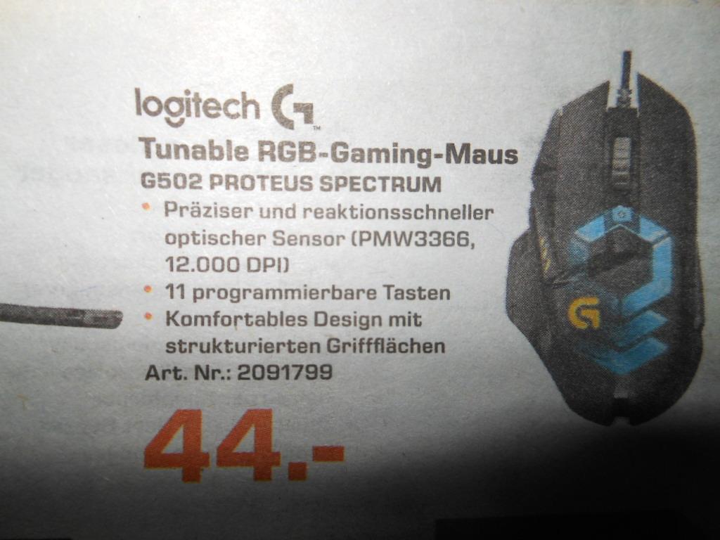 Logitech G502 Proteus Spectrum RGB Gaming Maus für 44€ Saturn Dresden