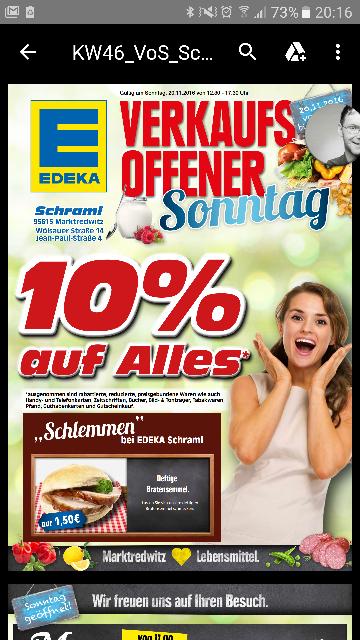 Lokal Marktredwitz - 10% bei Edeka Schraml am 20.11.2016