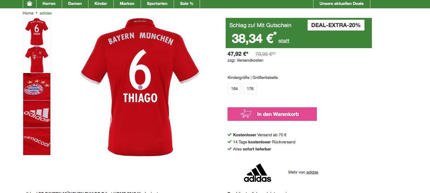 Vaola FC Bayern Home Trikot Kids 16/17 mit original Flock