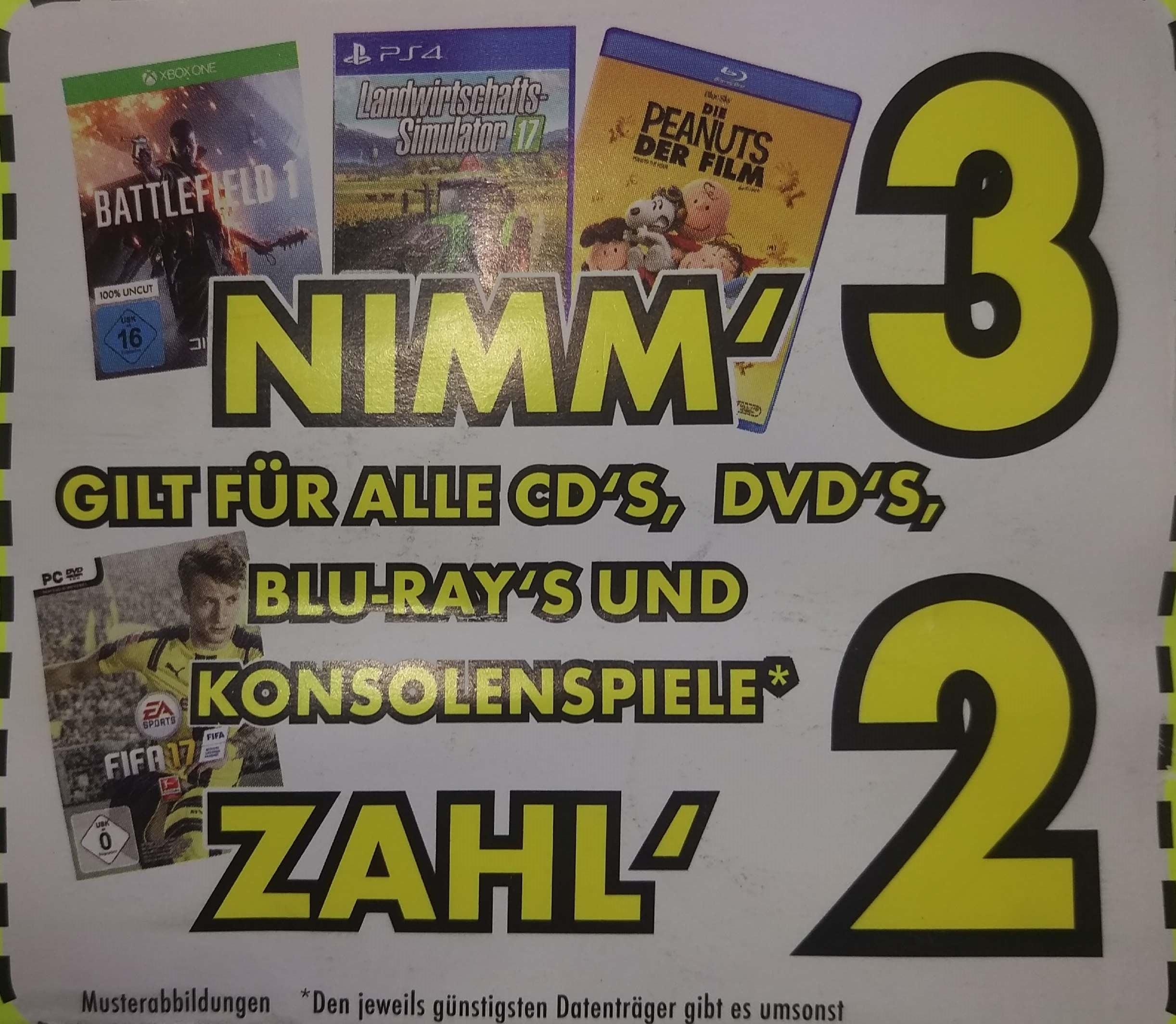 [Mülheim-Kärlich] Euronics Kauf 3 Zahl 2  CD,DVD,Konsolenspiel