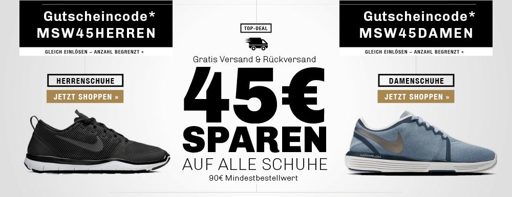 45 € Gutschein auf das ganze Schuh-Sortiment bei der [my-sportswear.de]. MBW liegt bei 90 €. SALE Artikel sind ausgeschlossen.