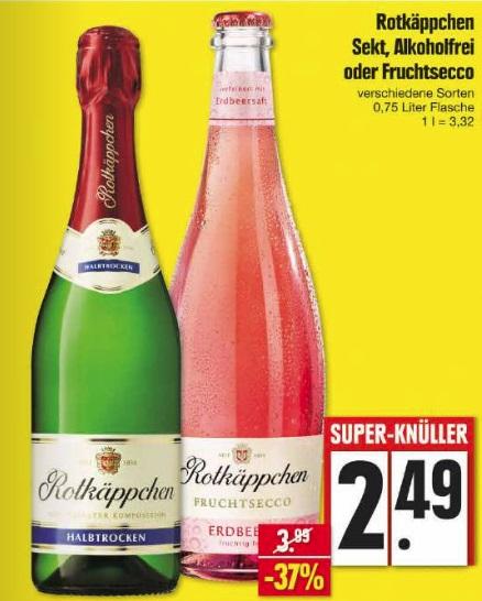Rotkäppchen Sekt, Alkoholfrei oder Fruchtsecco für 2,49€ bei EDEKA