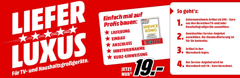 [Media Markt] Standardlieferung für TV- und Haushaltsgroßgeräte KOSTENLOS, Einbauservice nur 19 Euro