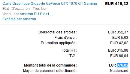[Amazon.fr Warehousedeals] Gigabyte G1 Gaming 1070 GTX für 376,02€ inkl. Versand