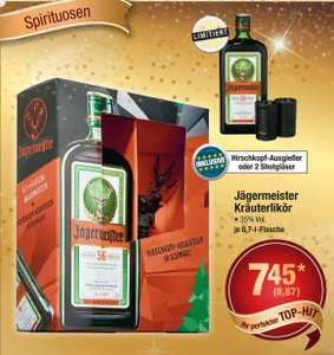 [metro] Jägermeister 0,7L + Ausgießer oder 2 Shotgläser für 8,87€ inkl. MwSt