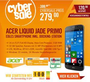 (cyberport.de) CyberSale Acer Liquid Jade Primo schwarz Windows 10 Mobile inkl. Docking Station (-80€)