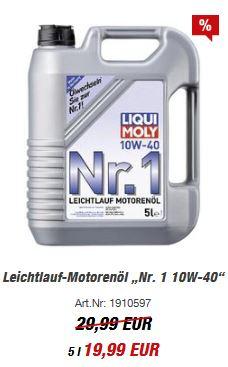 """*OFFLINE* TOOM Baumarkt 5 Liter LIQUI-Moly Leichtlauf-Motorenöl """"Nr. 1 10W-40"""""""