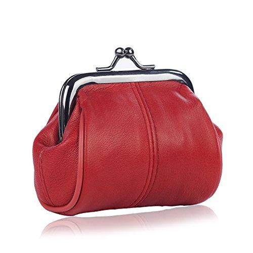 Hengying Damen Echt Leder Münzbörse (rot) für 7,99€