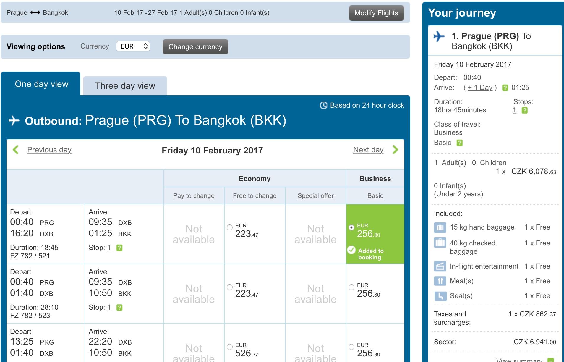 Error-Fare: Prag - Bangkok in Business für 750 Euro